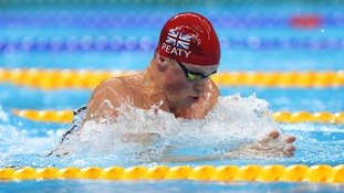 Adam Peaty swims in the 4x100m medley.