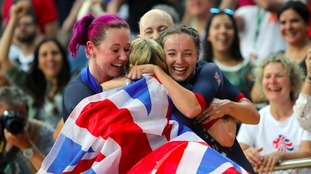 Trott celebrates with her team.