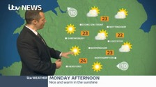 Dry with warm sunny spells through the day.