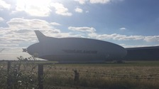 The Airlander was all set for its maiden flight in Bedfordshire.