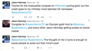 Twitter users congratulate wrong Jason Kenny on winning Olympic gold