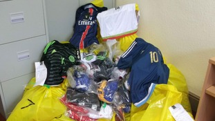 Counterfeit New Balance, Nike and Adidas football kits with an estimated retail value of £15,000 were seized