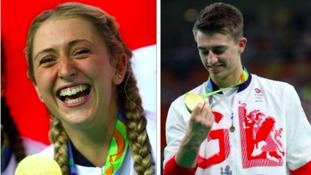 Laura Trott and Max Whitlock with just one of their gold medals.