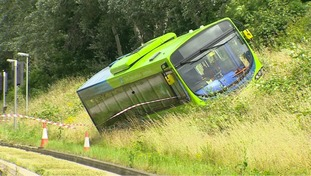 The bus ended up on the verge at Trumpington.