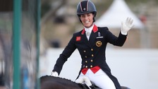Charlotte Dujardin of Great Britain on horse Valegro reacts after the Dressage Individual and Team Grand Prix Special