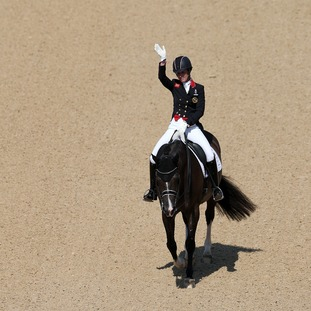 Great Britain's Charlotte Dujardin on Valegro in action during the Dressage Individual Grand Prix Freestyle	at the Olympic Equestrian Centre on the tenth day of the Rio Olympic Games, Brazil.