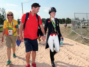 Great Britain's Charlotte Dujardin with her fiancee Dean Wyatt Golding