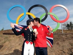 Charlotte Dujardin with her fiancee Dean Wyatt Golding