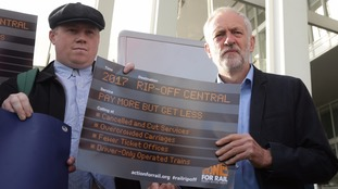 Jeremy Corbyn joined a RMT protest ahead of the announcement.