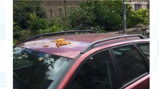 A small Somerset village has sent social media into frenzy after someone dumped a bag of chips on a car.