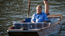 William Shatner takes a punting trip at Cambridge