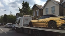 Learner driver of gold Maserati pulled over by police.