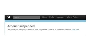 "When trying to access Nick Griffin's Twitter account the message ""account suspended"" appears"