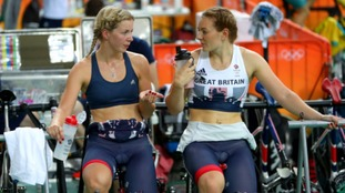 Becky James (left) with team mate Katy Marchant.