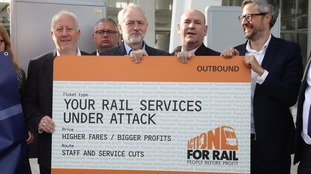 Jeremy Corbyn protests over the rail fare increases and calls for nationalisation.