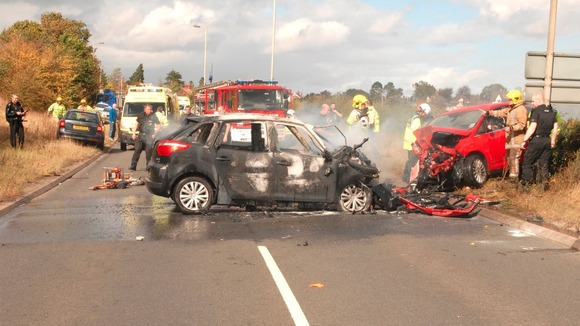 Four cars had collided and one of the cars caught fire 