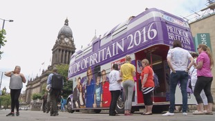 The Pride of Britain bus outside Leeds Town Hall today
