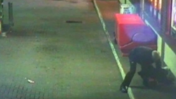 CCTV of Inspector Dennis Kelly wrestling a would-be armed robber to the floor at a petrol station on Curzon Street, Maryport.