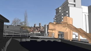 Proposed bridge at Brayford level crossing viewed from the University campus