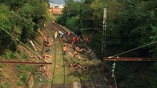 The tree fell across a stretch of tracks near the village of Saint-Aunes after a heavy hail storm.