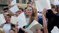 Students collecting A-level results.