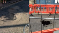 The sink hole appeared in Eden Street.
