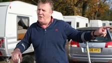 Patrick Egan speaks to the media at outside Dale Farm illegal travellers site after the completion of the council clearance operation.