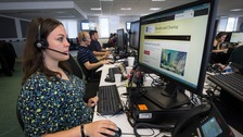 Calls are taken at The University of Sheffield's Clearing call centre on A Level results day.