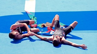 The brothers embraced and then collapsed on the finish line