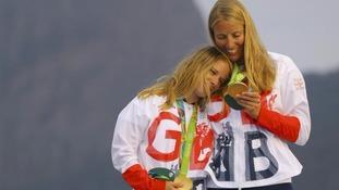 Sailors Hannah Mills and Saskia Clark celebrated gold
