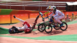 Liam Phillips (GBR) and David Graf (SUI) crash during the individual BMX cycling quarterfinal heats in the Rio 2016 Summer Olympic Games