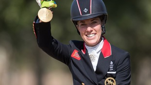 Charlotte Dujardin arrives home from Rio after winning gold