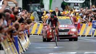 Lance Armstong competes in the Tour de France Preliminary Stage in 2010