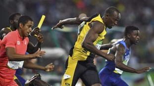 Bolt is only the second man to win three 4x100 metre relays