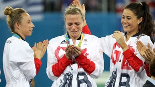 Kate and Helen Richardson-Walsh become first same-sex married couple to win Olympic gold in same final