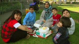 Mother Sabah Usmani and her five children. Three-year-old Maheen is on the far right of the photograph.