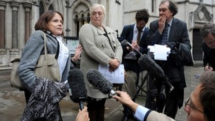 Lawyer Jocelyn Cockburn (L) and Sue Smith speak to media outside the Royal Courts of Justice