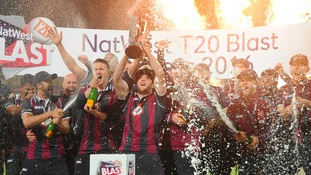 Northamptonshire Steelbacks celebrate at Edgbaston.