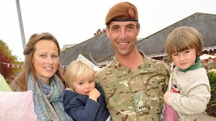 Soldier with family