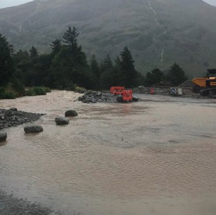Lots of water in Glenridding following heavy rain on Saturday (20th)