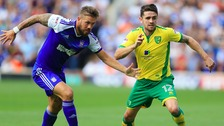 Luke Chambers (left) and Robbie Brady (right) battle for the ball at Portman Road.
