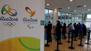 Fans queue for tickets to the Rio 2016 Olympic Games