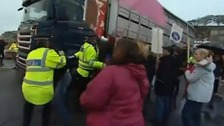 Lorry and protesters