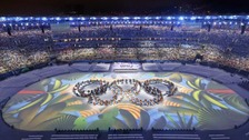 The Olympic rings on display at the closing ceremony