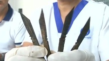 Some of the knives were up to seven inches long