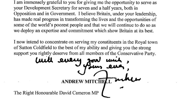 Andrew Mitchell&#x27;s letter of resignation 