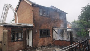 A property was severely damaged by a fire in Bedfordshire