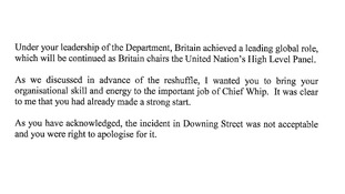 Prime Mininster's acceptance letter after Andrew Mitchell's resignation