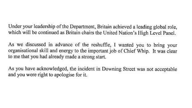 Prime Mininster&#x27;s acceptance letter after Andrew Mitchell&#x27;s resignation