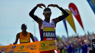 Mo Farah wins the 2015 Morrisons Great North Run, Newcastle.